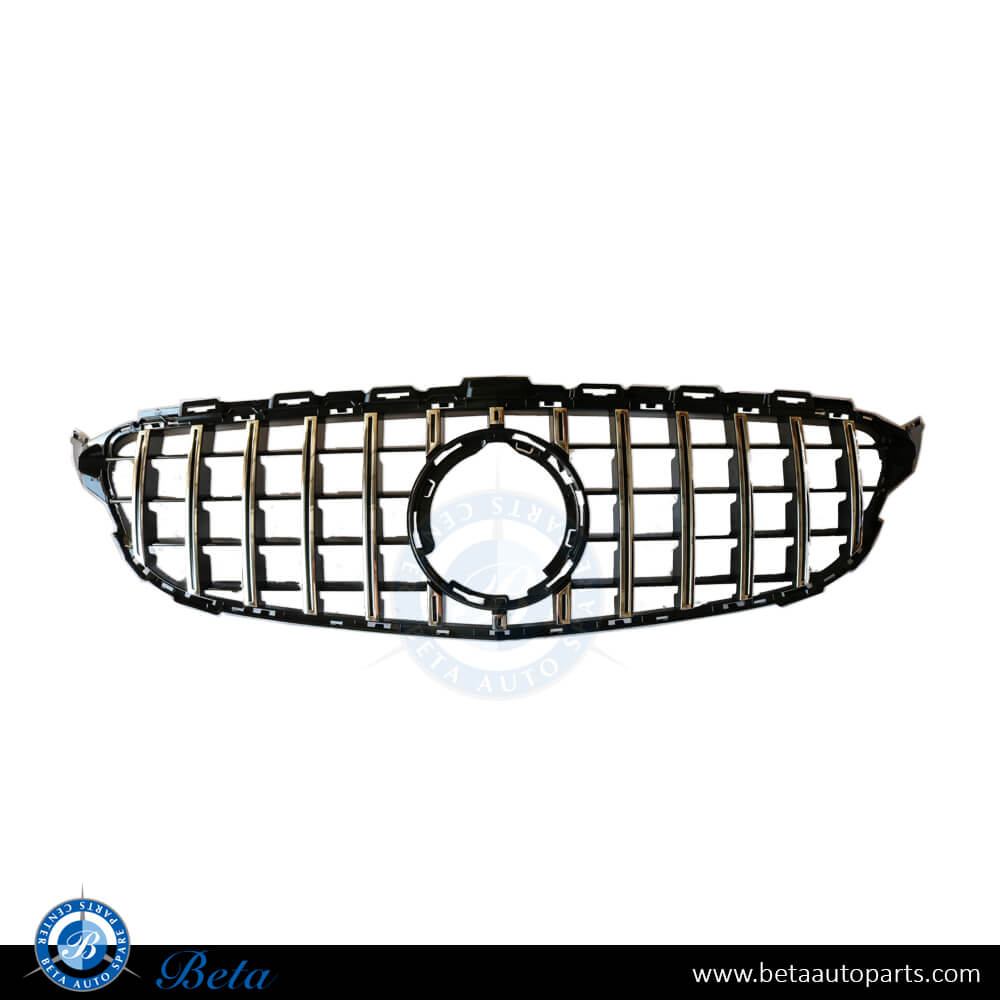 Mercedes C-Class W205 (2019-up), Grille GT Style without Camera Hole (Black and Chrome), China, FS205025